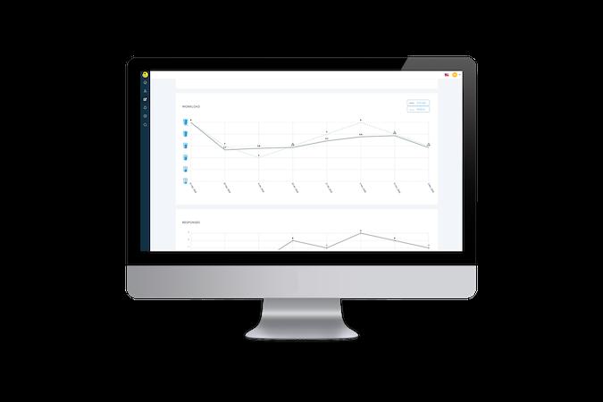 Statisztikákat mutató számítógép képernyő