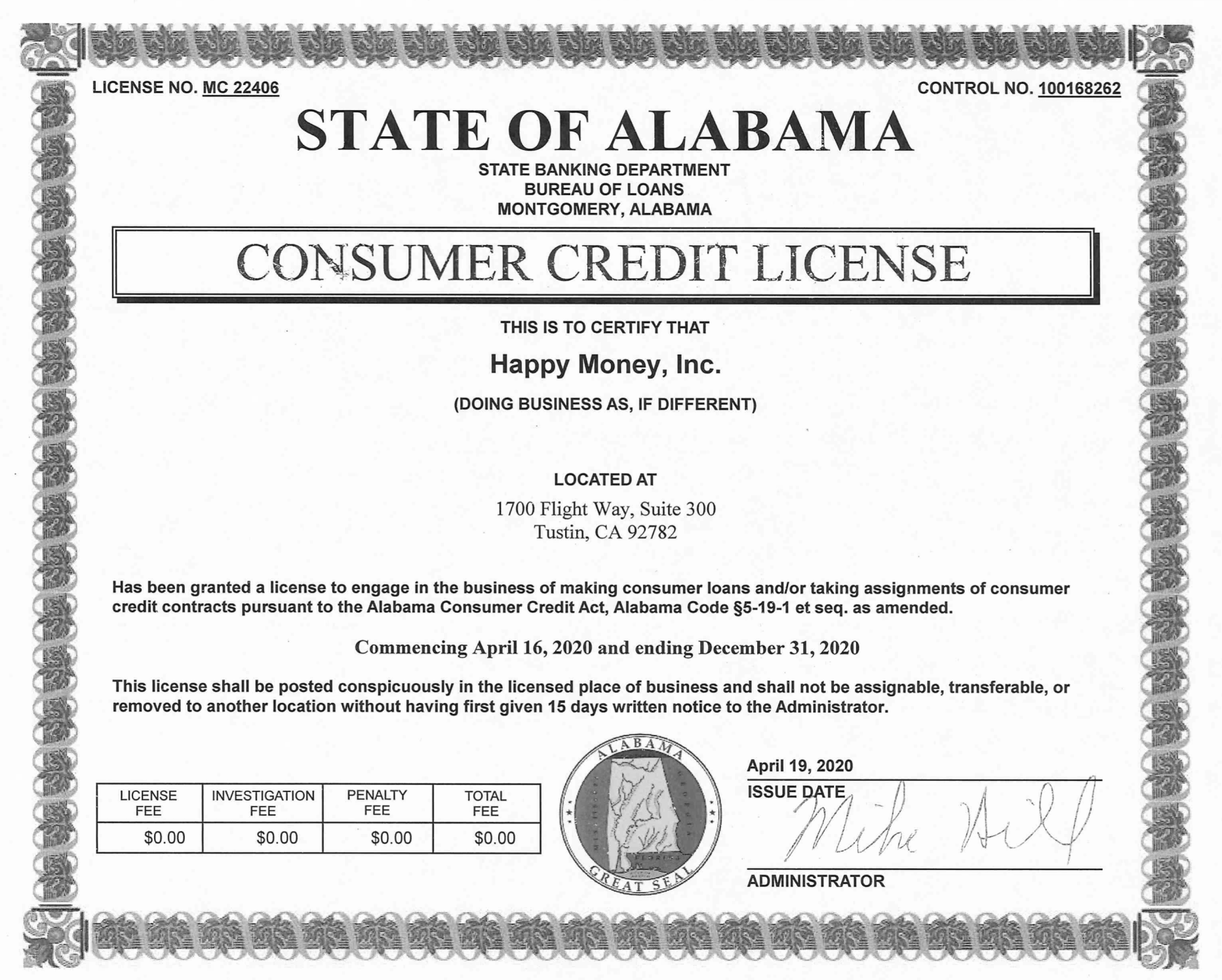 Thumbnail of license PDF