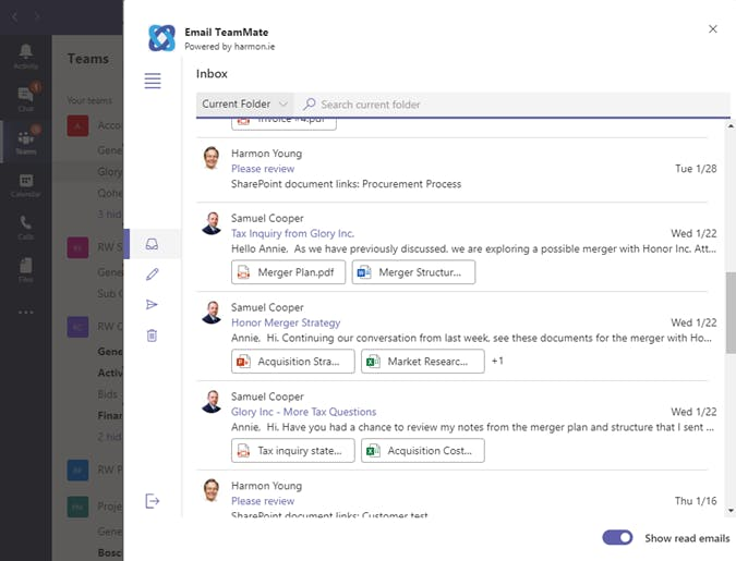 Email TeamMate lets you select an email message and share it in a Teams conversation