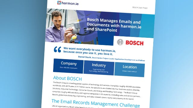 Bosch Managed Emails and Documents with harmon.ie and SharePoint