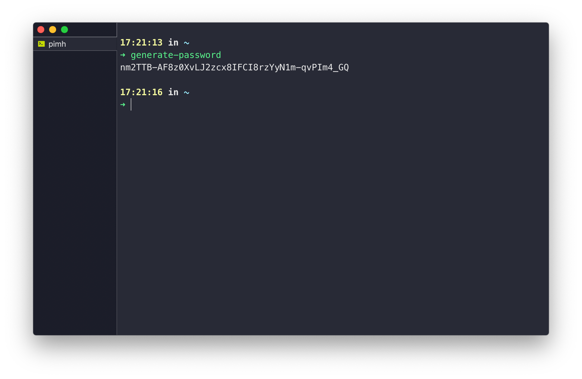 """A terminal window. A line of input reads """"generate-password"""", followed by a complex string output"""