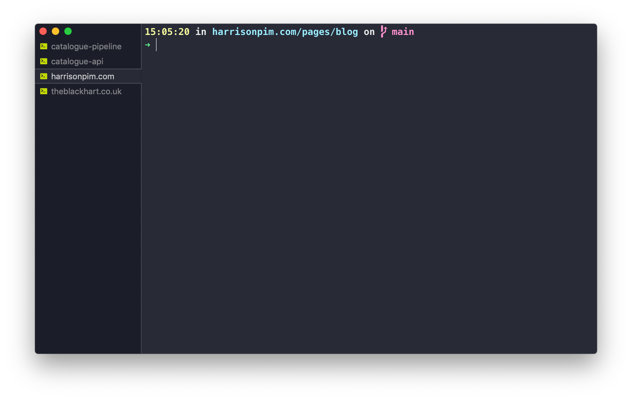 A terminal window with four tabs open. Each one is titled according to the repo it's running in.