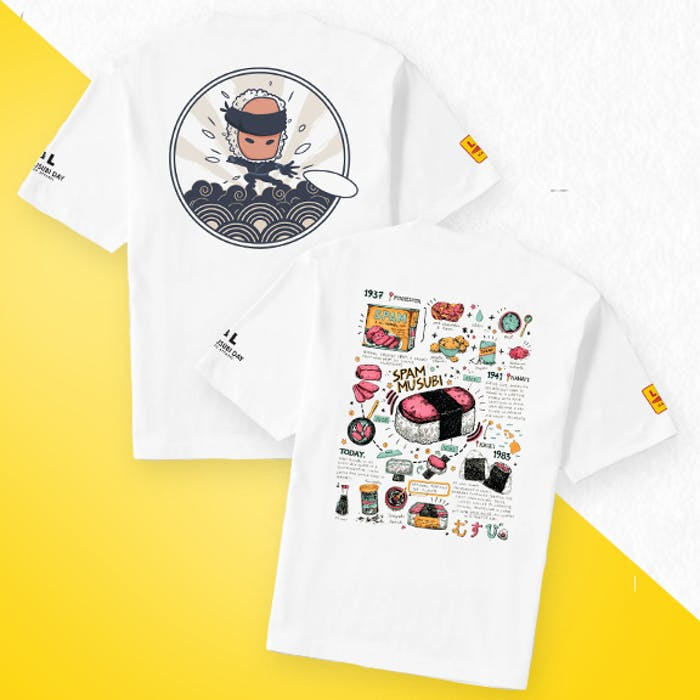 A photo of two shirts with special designs featuring the SPAM® Musubi.