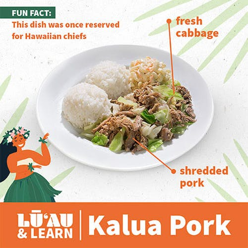Kalua Pork diagram with fresh cabbage and shredded pork (Fun fact: this dish was one reserved for Hawaiian chiefs)