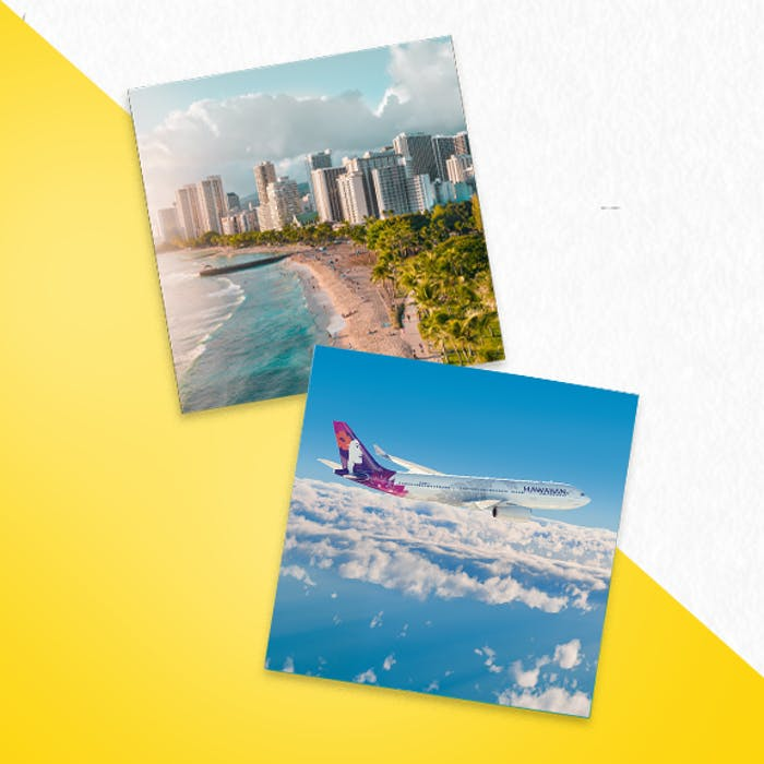 A photo of Waikiki Beach and a photo of an Hawaiian Airlines plane in the sky.