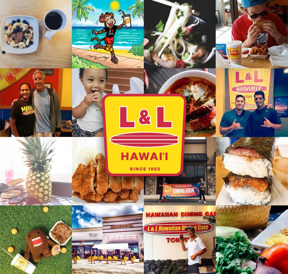 Collection of L&L customers and food with the L&L logo overlayed