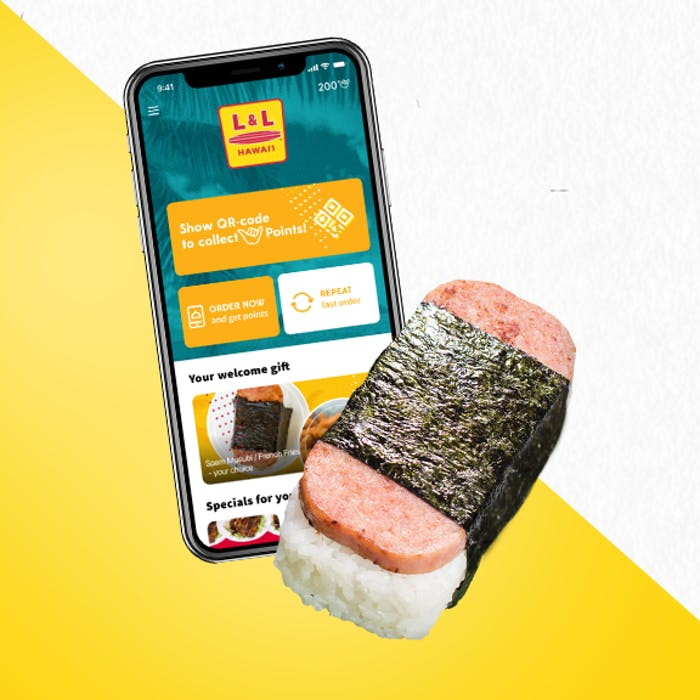 A photo of an mobile phone with the L & L App and a SPAM® Musubi.
