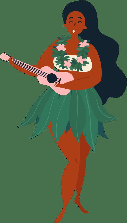 Hula girl playing an ukulele