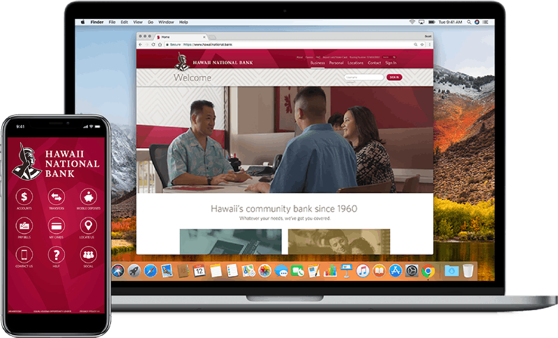laptop and cell phone displaying the Hawaii National Bank website and mobile app