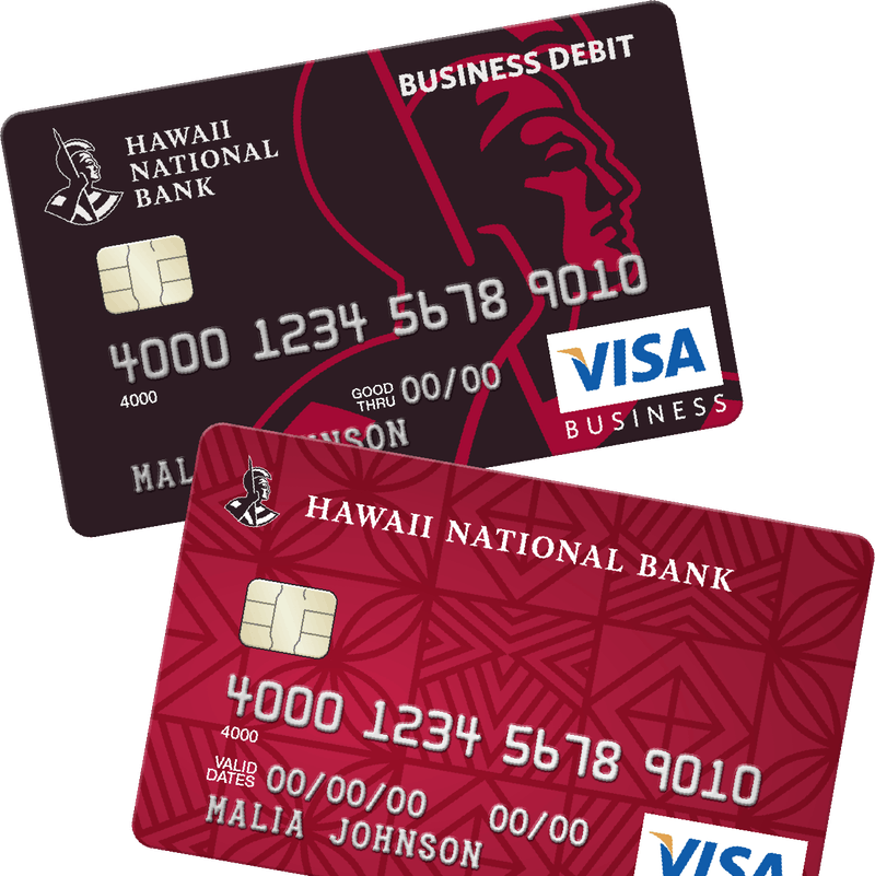 black business debit card and red business credit card