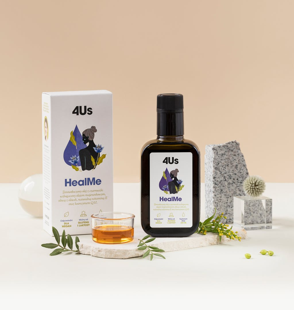 Suplementy diety - olej HealMe odHealthLabs, butelka 250 ml.