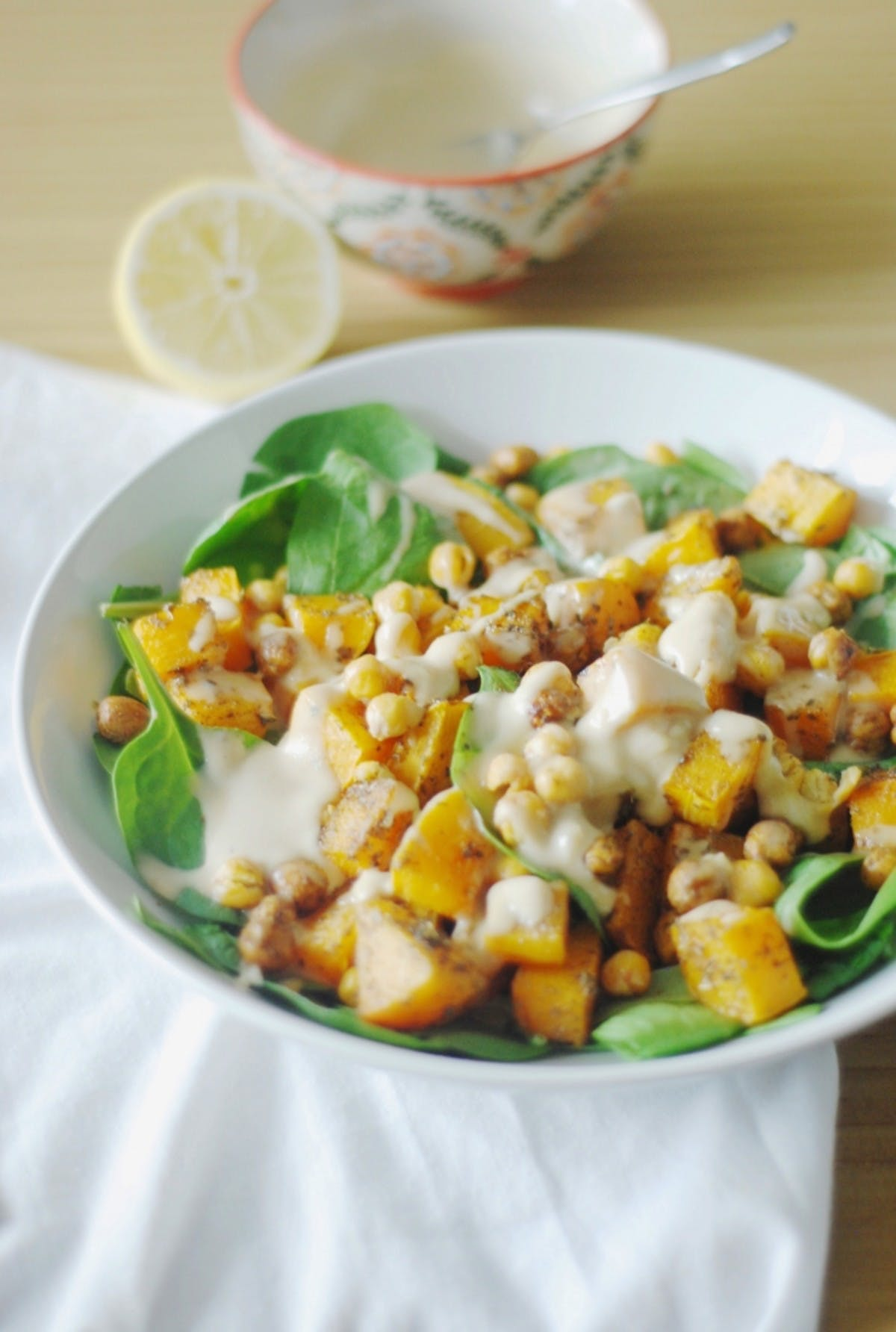 Spiced Butternut Squash and Crispy Chickpea Salad with Tahini Dressing