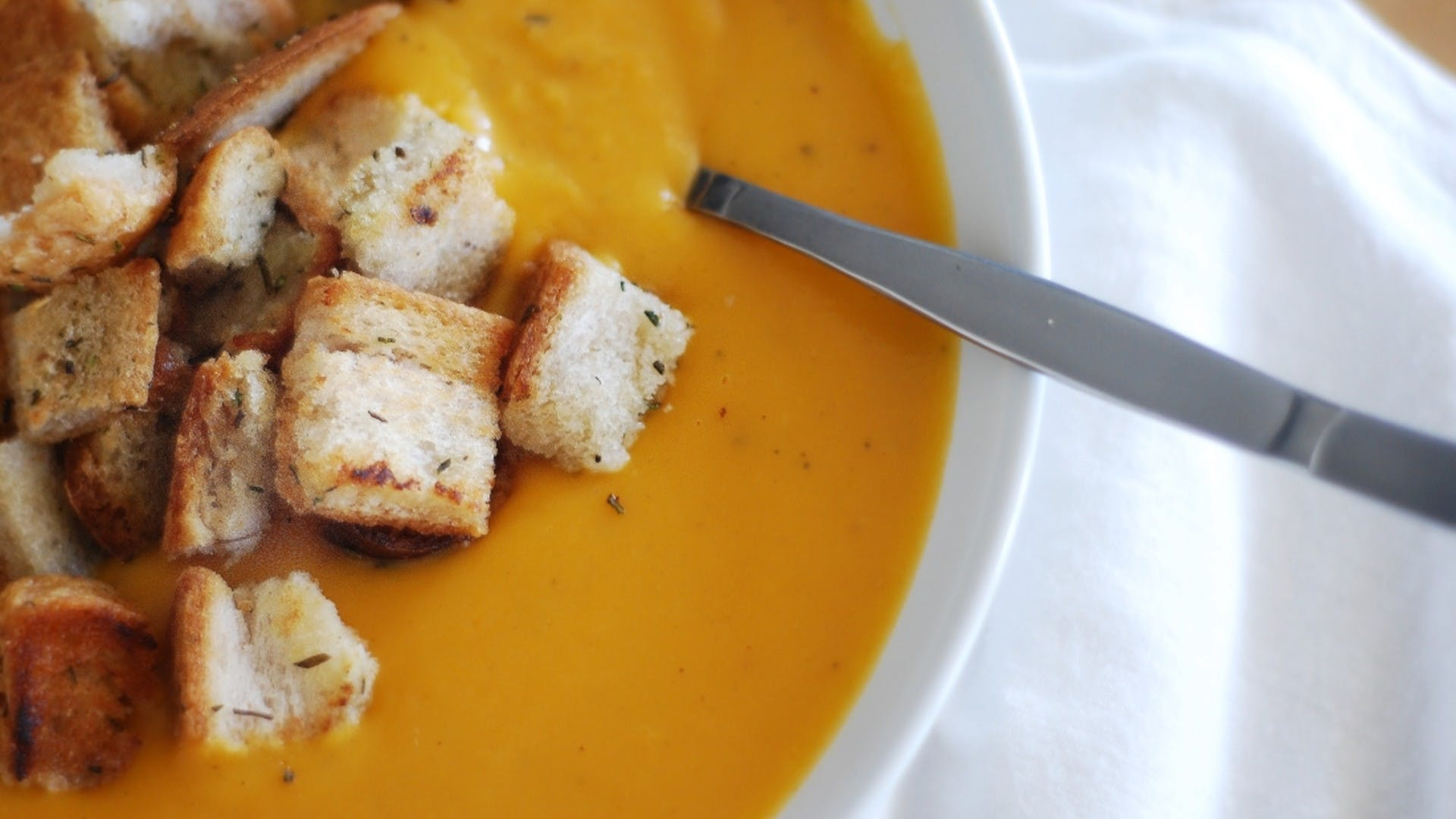 Roasted Butternut Squash Soup with Garlic and Rosemary Croutons