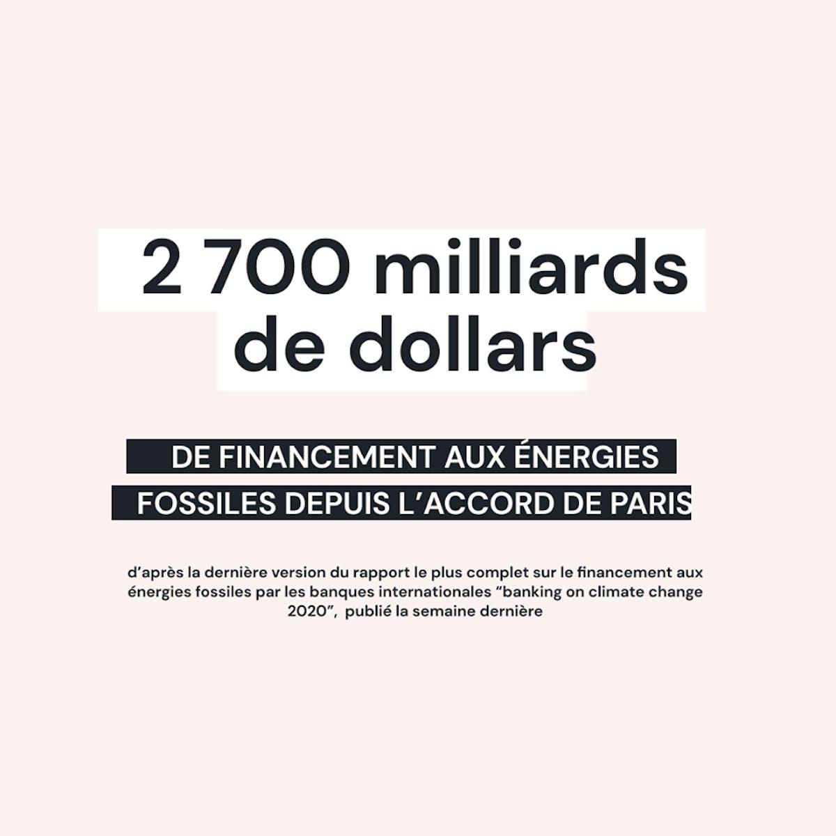 2700 milliards de dollars de financement aux énergies fossiles depuis l'accord de Paris