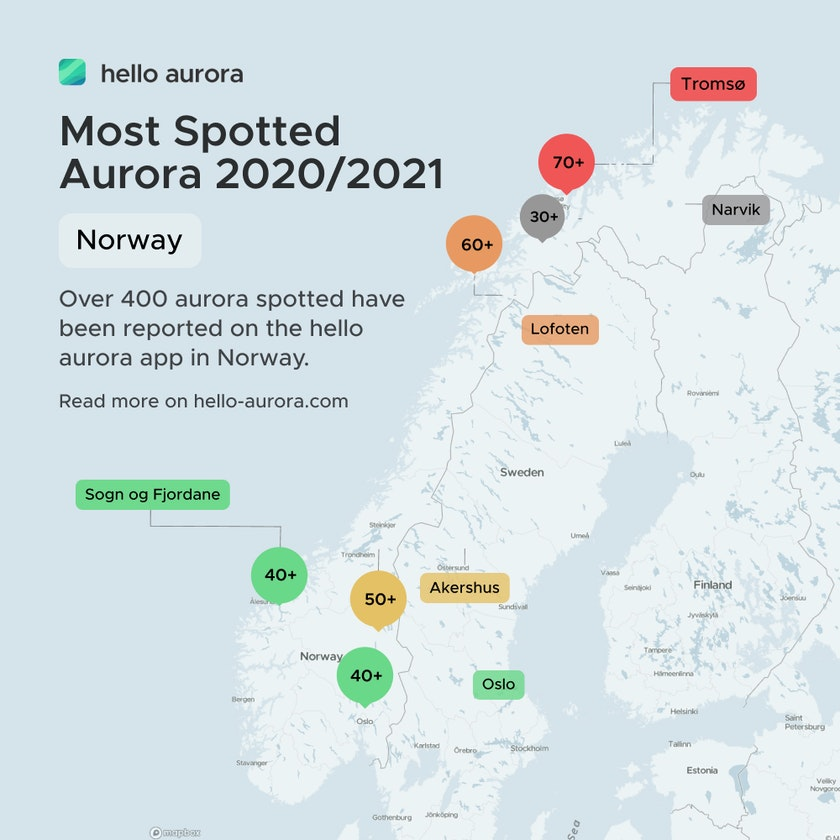Top spotted aurora location in Norway from August 2020 to May 2021