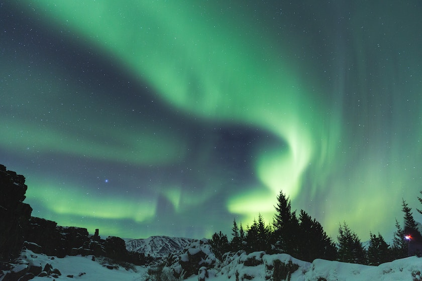 Northern Lights dancing in the arctic