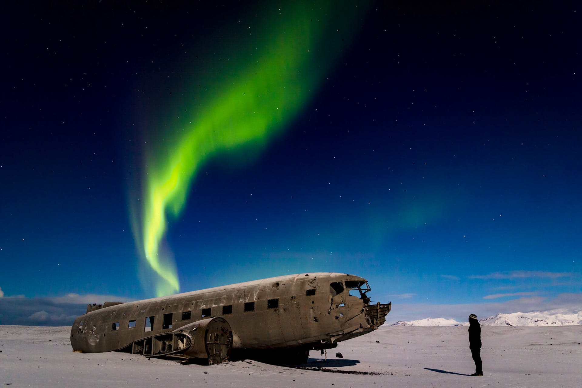 Aurora at the plane wreck in South Iceland.