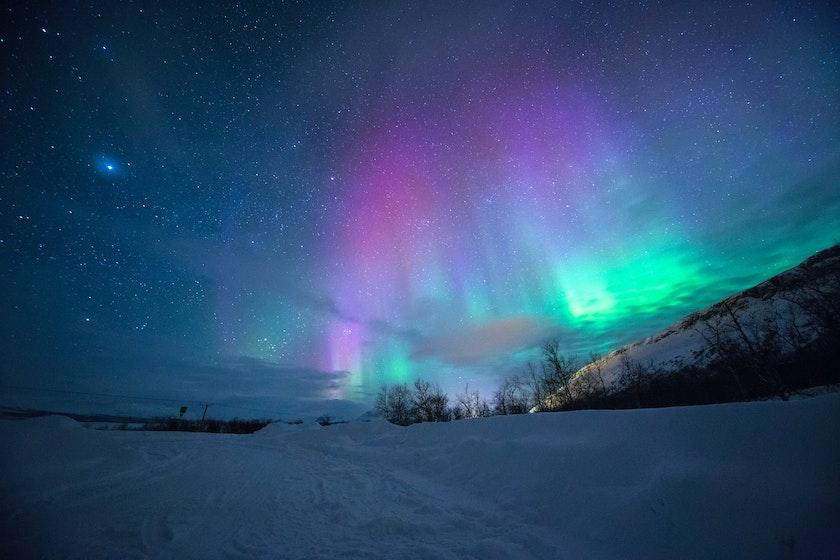 Purple aurora shining in the sky. Photo by Lightscape on Unsplash