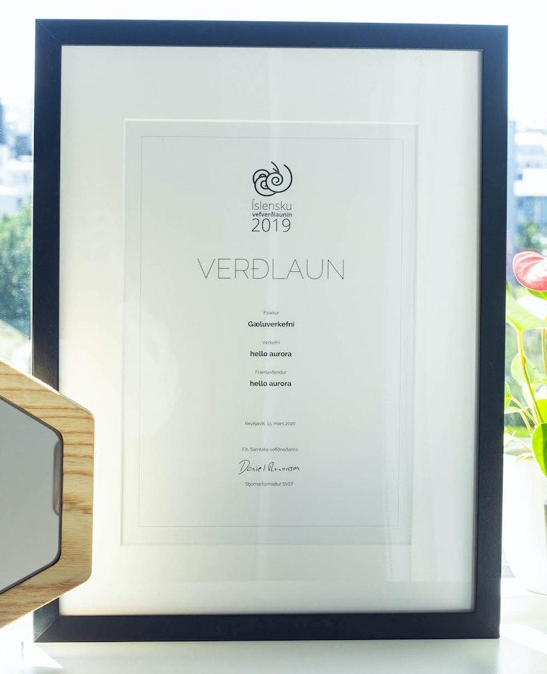 Hello aurora on the Icelandic Web Awards