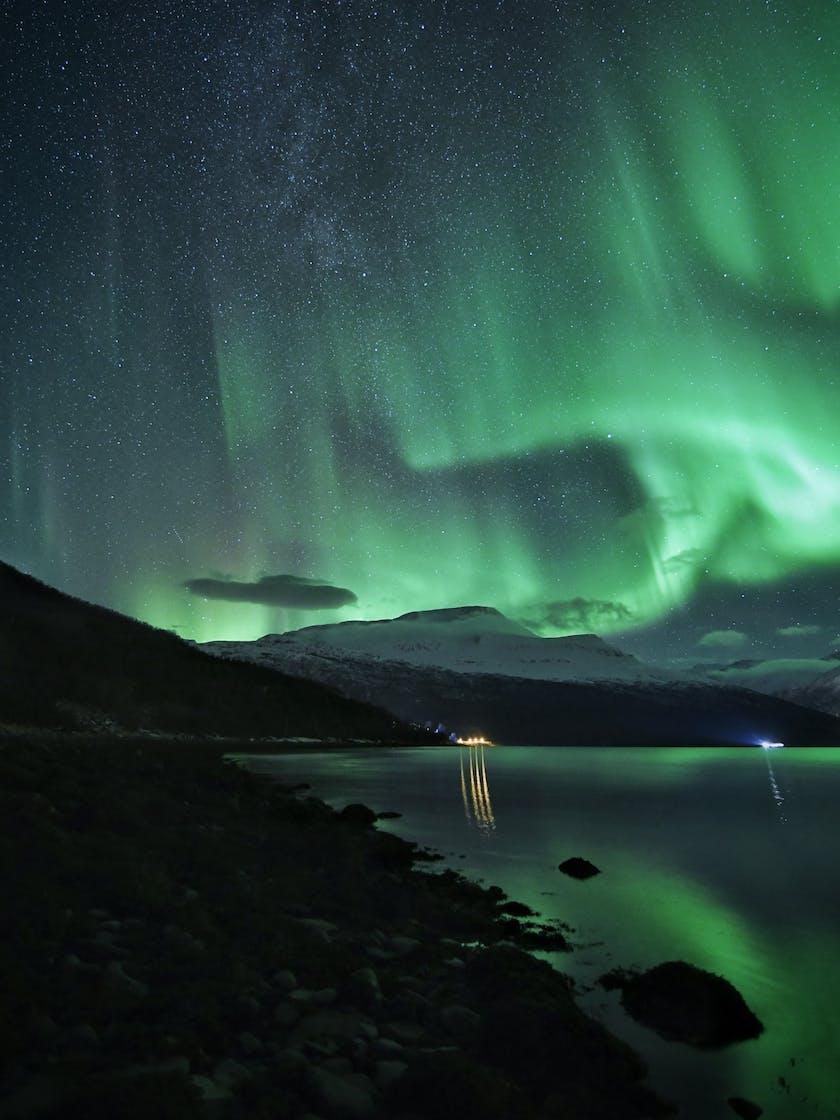 Aurora dancing over fjords in Norway. Photo by @dancromb, dancromb.co.uk