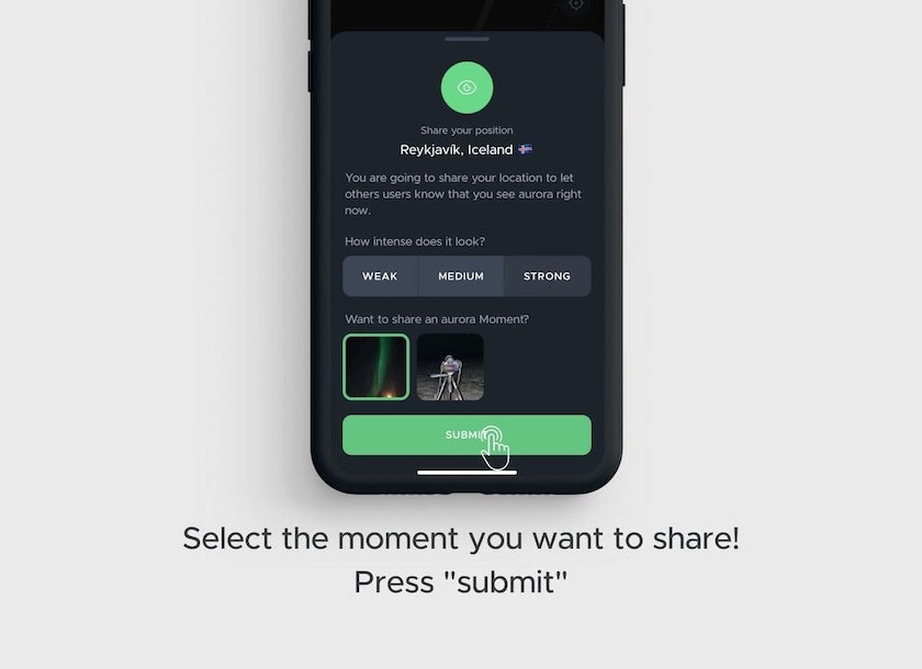 Select the aurora intensity to share your aurora moment
