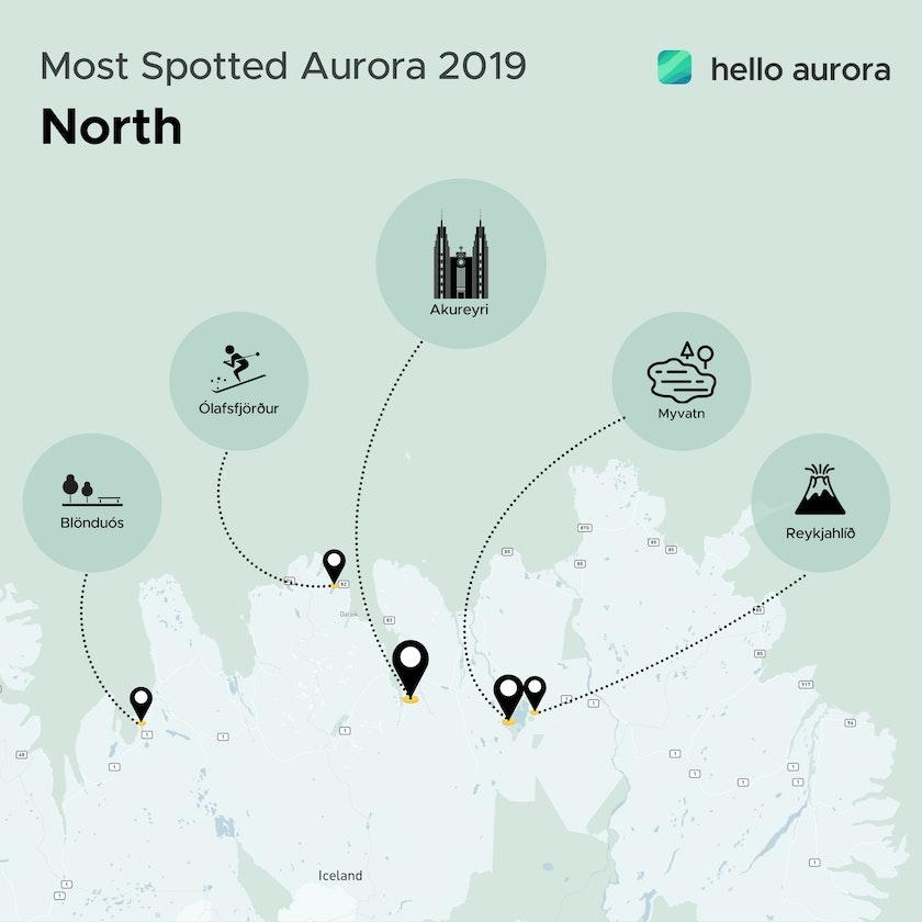 Aurora location in North of Iceland