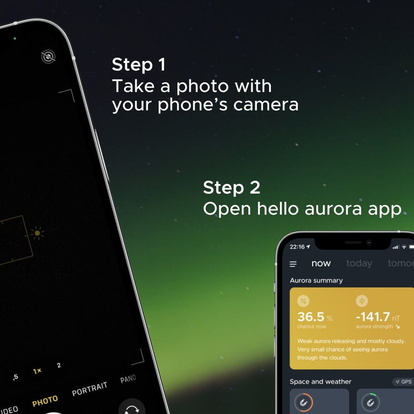 Take picture of aurora or picture behind your camera and open hello aurora app
