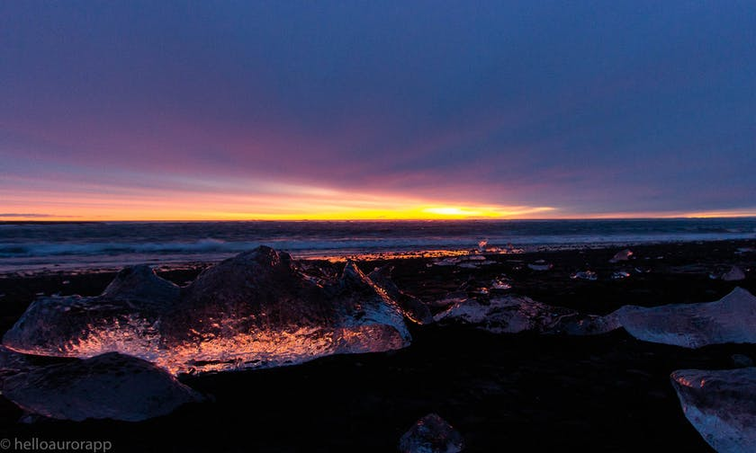 Beautiful sunrise on the glacier lagoon in Iceland
