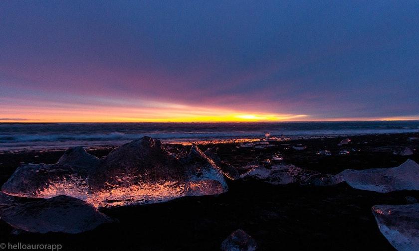 Beautiful sunrise on the glacier lagoon in Iceland