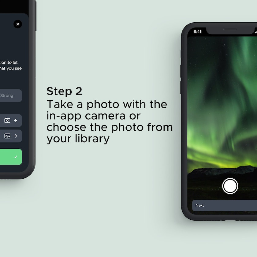 Take a photo of the aurora or the photo behind your camera and share it with yout aurora friends