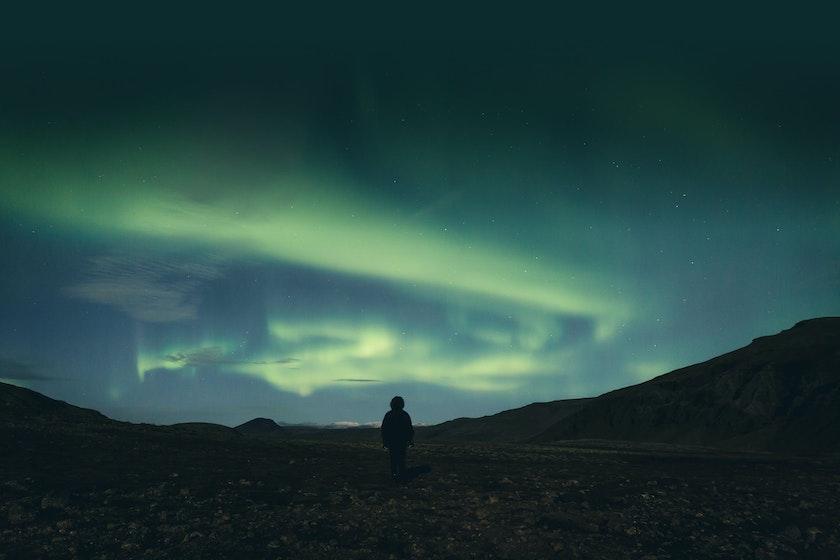 Krýsuvík, the popular Northern Lights location just less than an hour away from Reykjavík.