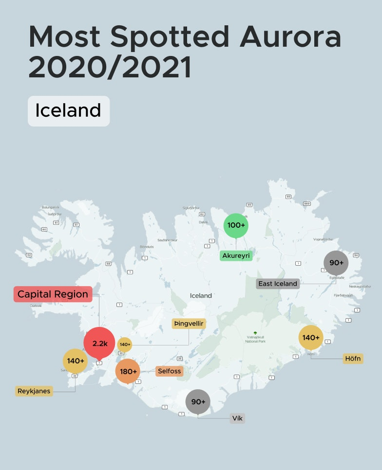 Top Northern Lights Location in Iceland 2020 to 2021
