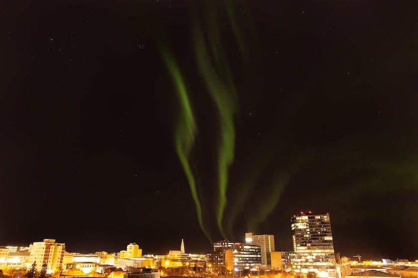 Northern Lights over Hallgrímskirkja.