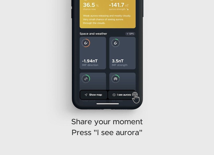 Share your aurora moment with other people using hello aurora