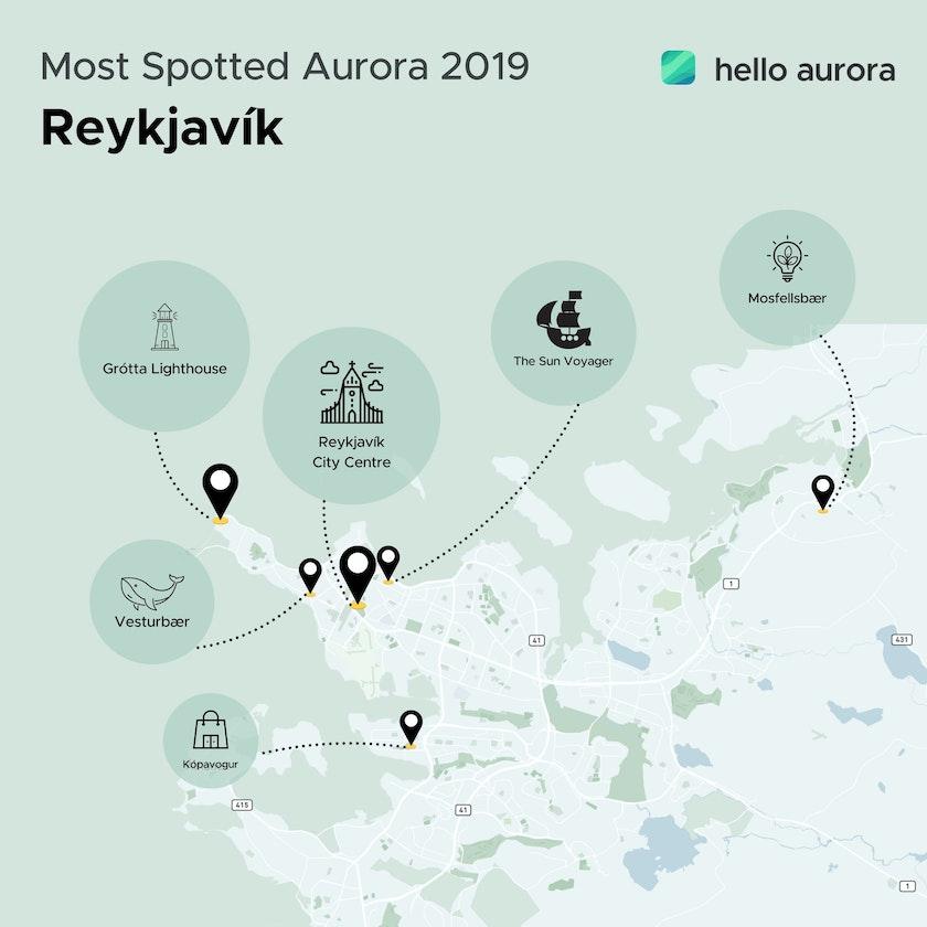 Popular Northern Lights location in Reykjavík the capital of Iceland