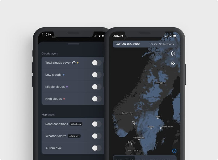 See cloud coverage in Norway, Sweden, Finland and Iceland
