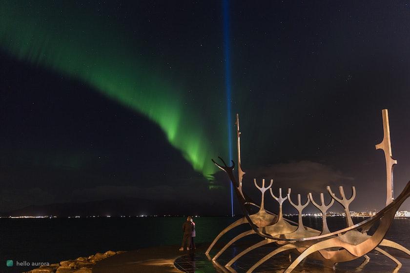 Aurora in Reykjavík Iceland