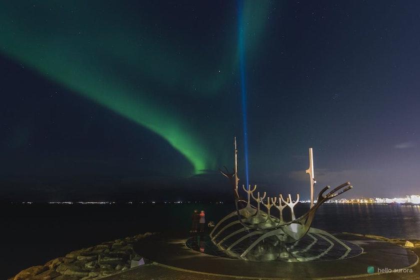 Aurora over the Sun Voyager in Reykjavík dowtown.