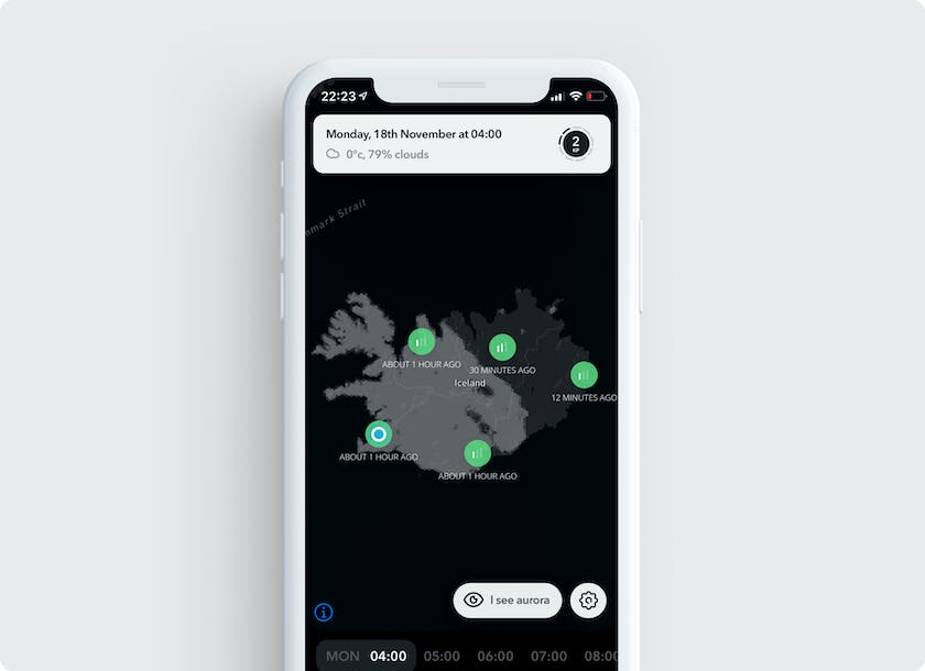 Pins shared show on the map page in the Northern Lights application