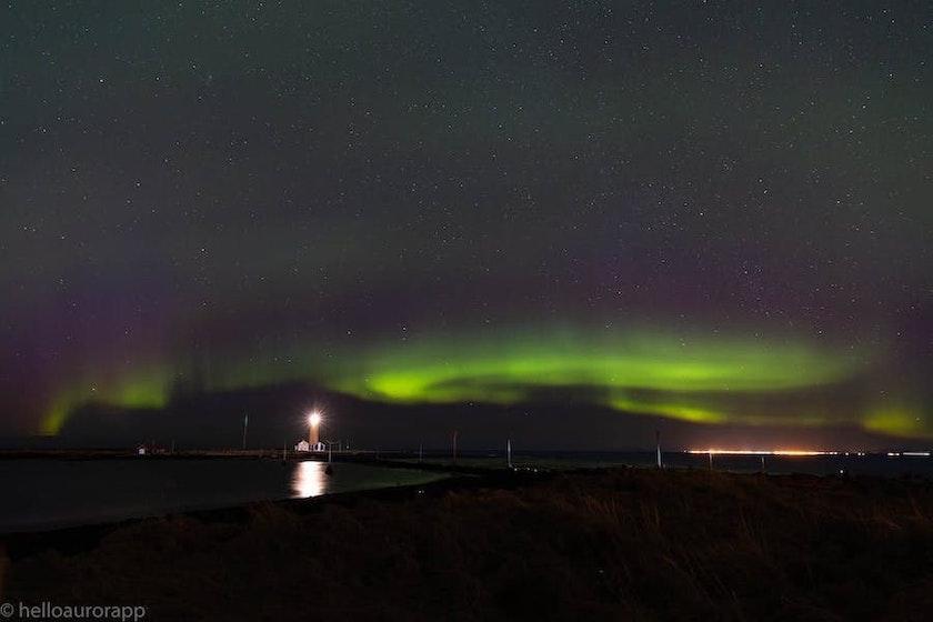 Northern Lights shining at Grótta in Reykjavík