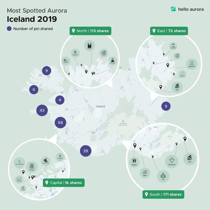 Most spotted aurora locations around Iceland.