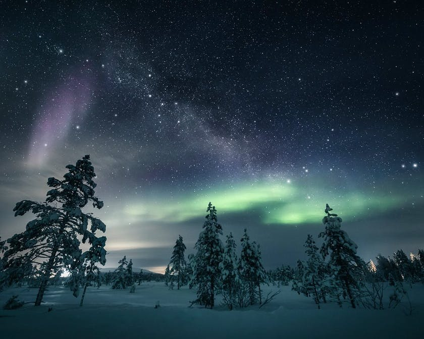 Northern Lights in Finland and milky way photo by @timoksanen