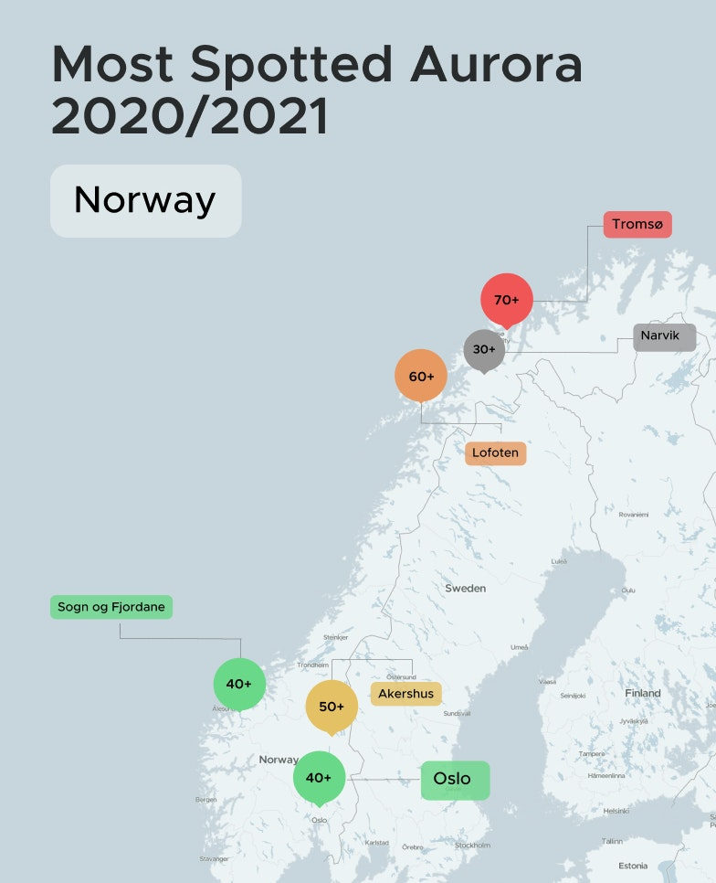 Northern Lights Location in Norway 2020 to 2021