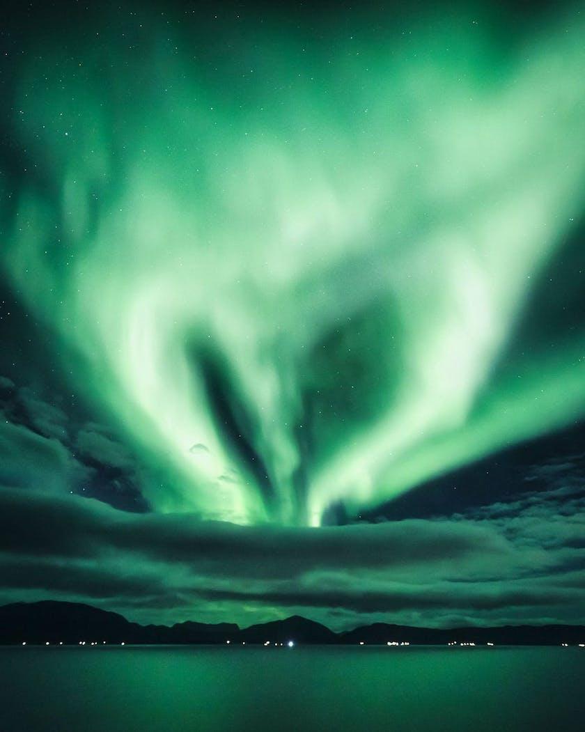 Northern Lights shaped heart in Finmark, photo by @timoksanen