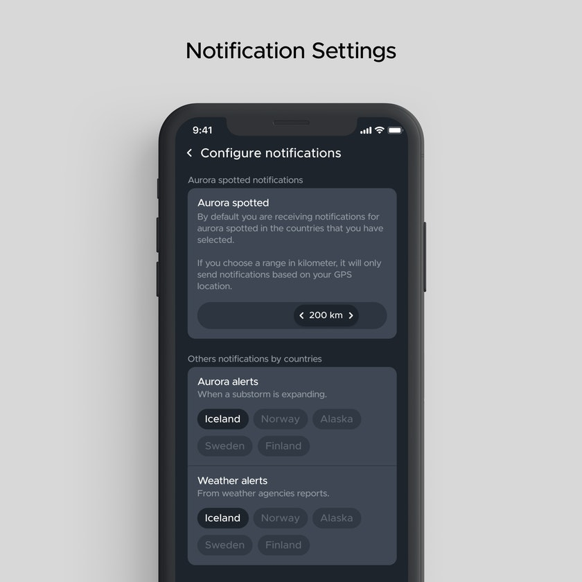 Configure the notifications as you like by choosing country or kilometers range