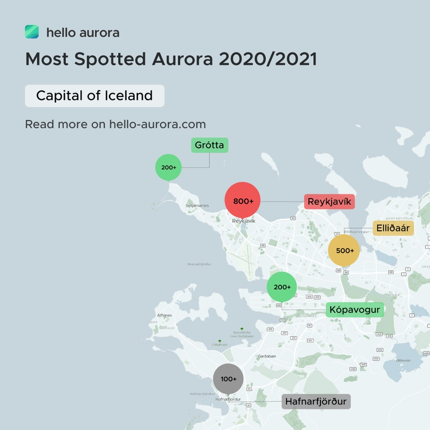 Top aurora location in Reykjavík and the surrounding area.