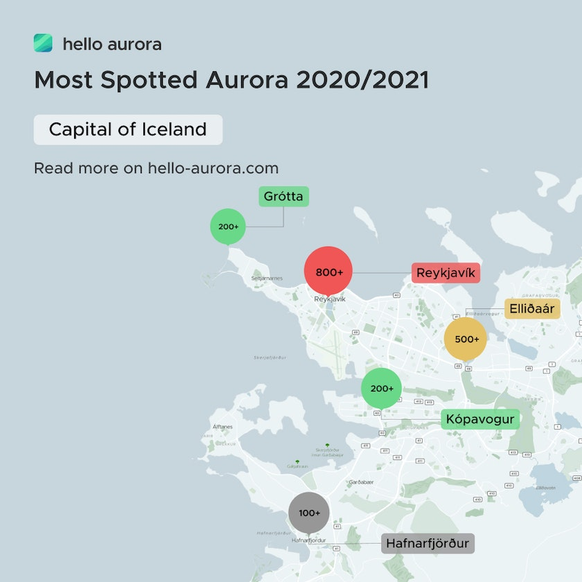Aurora spotted location in the capital of Iceland.