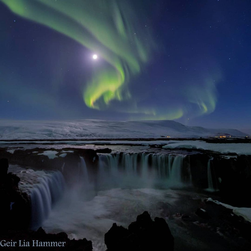 Northern Lights over Godafoss in North Iceland by @hammer_foto