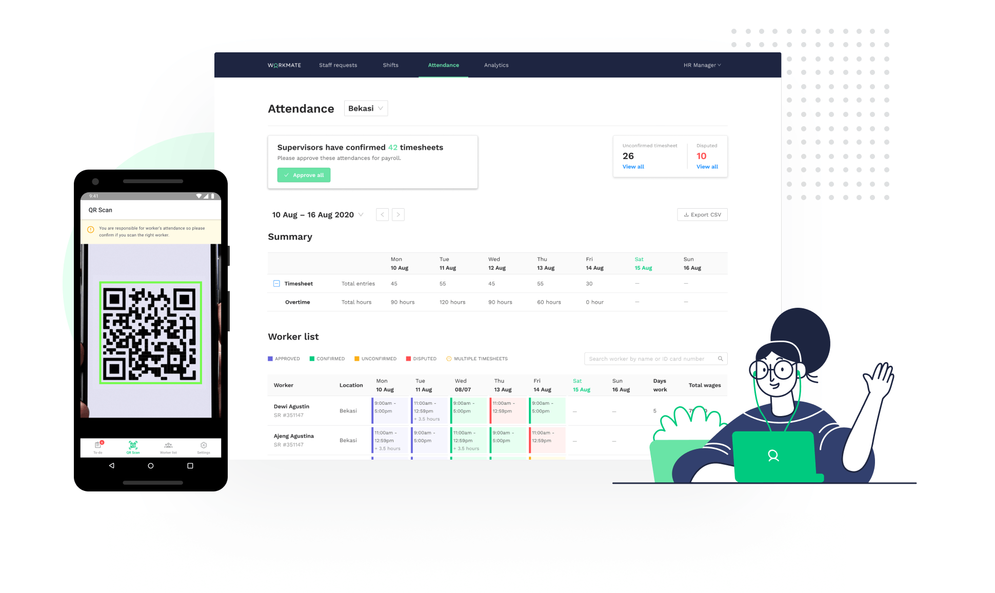 Time and attendance tracking software - Workmate