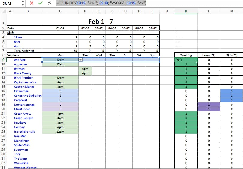 Shift scheduling template- Excel